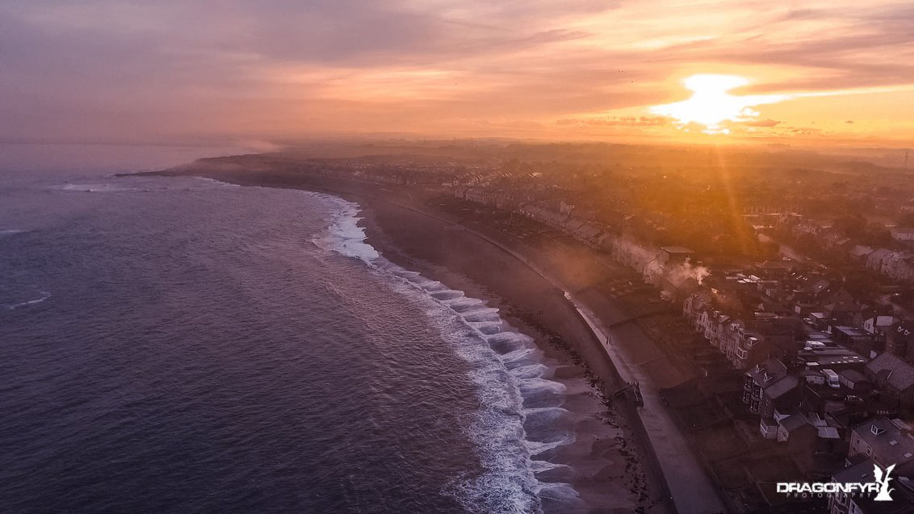 Aerial Photo - Newbiggin by the Sea - Beach